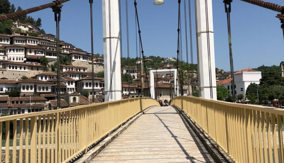 Berat Albania Osumi River Pedestrian Bridge
